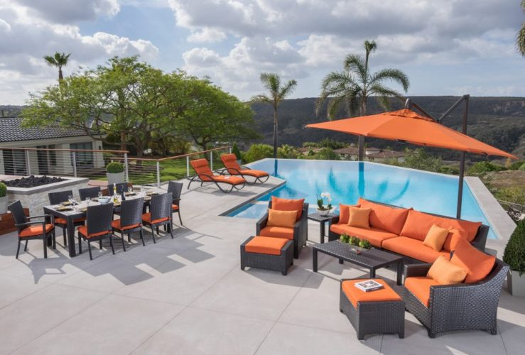 Orange outdoor seating and dining set